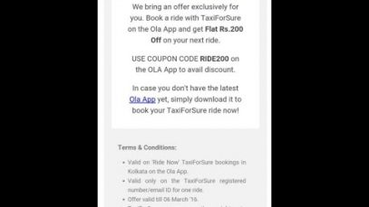 TAXIFORSURE 200 OFF Book ride using OLA APP
